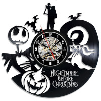 The Nightmare Before Christmas Cartoon Them CD Record Wall Clock Love Story Vinyl LED Wall Clock Classic Home Decor Clock