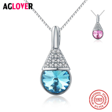 Hot Selling 925 Sterling Silver Water droplets Necklace Women Senior Austrian Crystal Jewelry Charm Statement