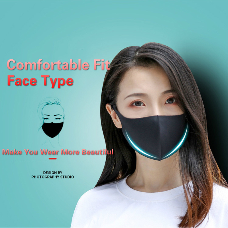 1Pcs 3D Ice Silk Mouth Mask For Men Women Summer Dust Proof Three-dimensional Washable Breathable Solid Thin Face Mask