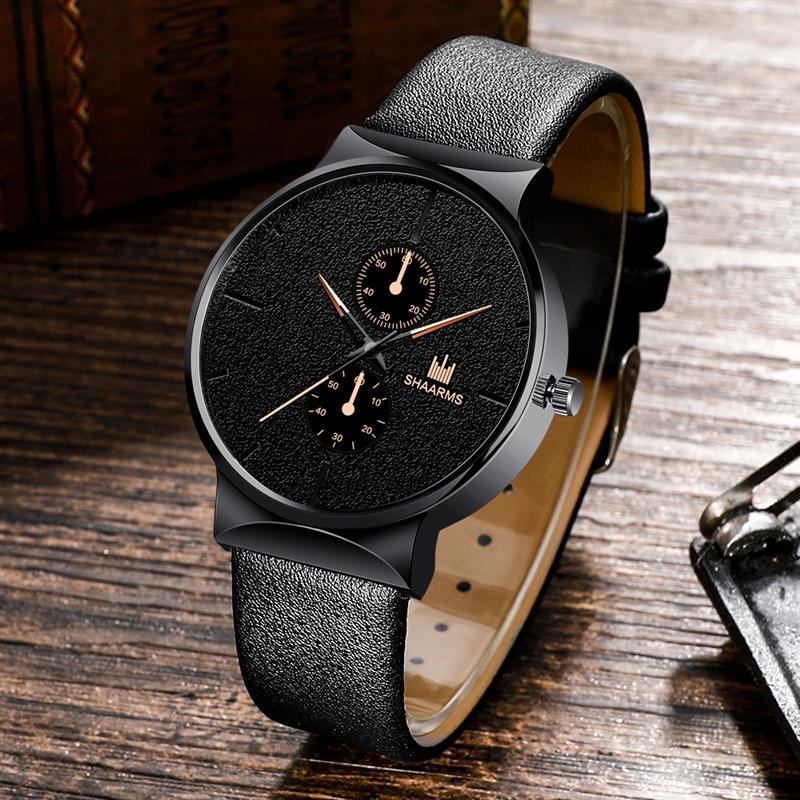 Fashion Men'S Leather Band Watches Stainless Steel Quartz Wristwatch Male Simple Business Watches Black Clock Relogio Masculino