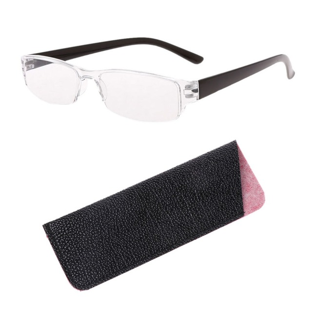 1 Pc Unisex Lightweight Clear Slim Fashion Rimless Reading Glasses 1.00-4.00 Diopter Eyewear With Leather Case