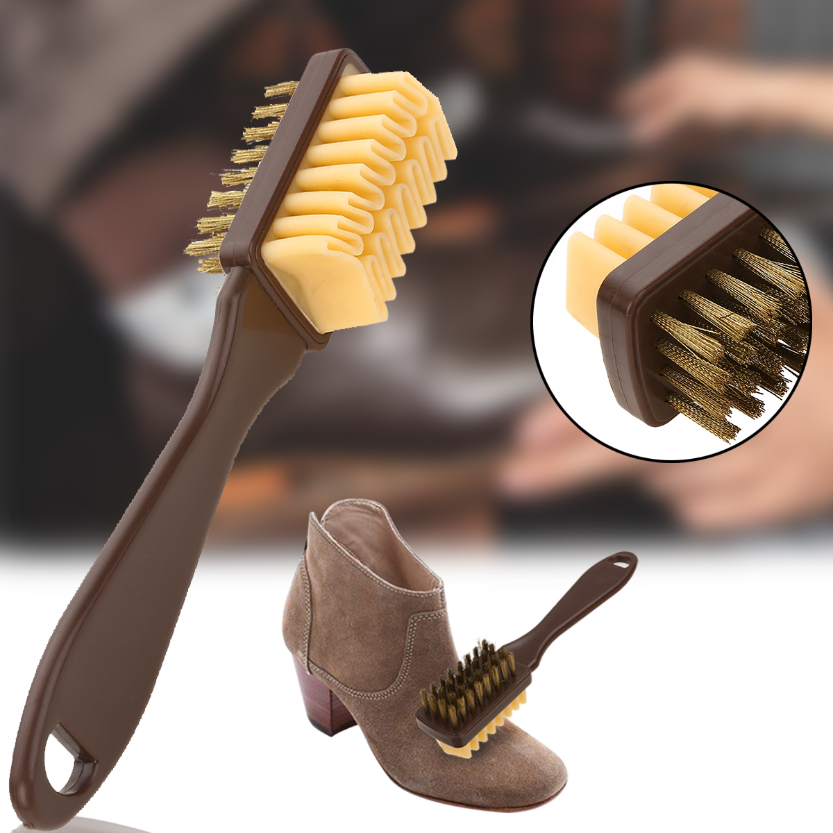 1pc 2-Sided Cleaning Brush & Rubber Eraser Set Suede Nubuck Shoes Boot Cleaner Practical Handbag Brushes
