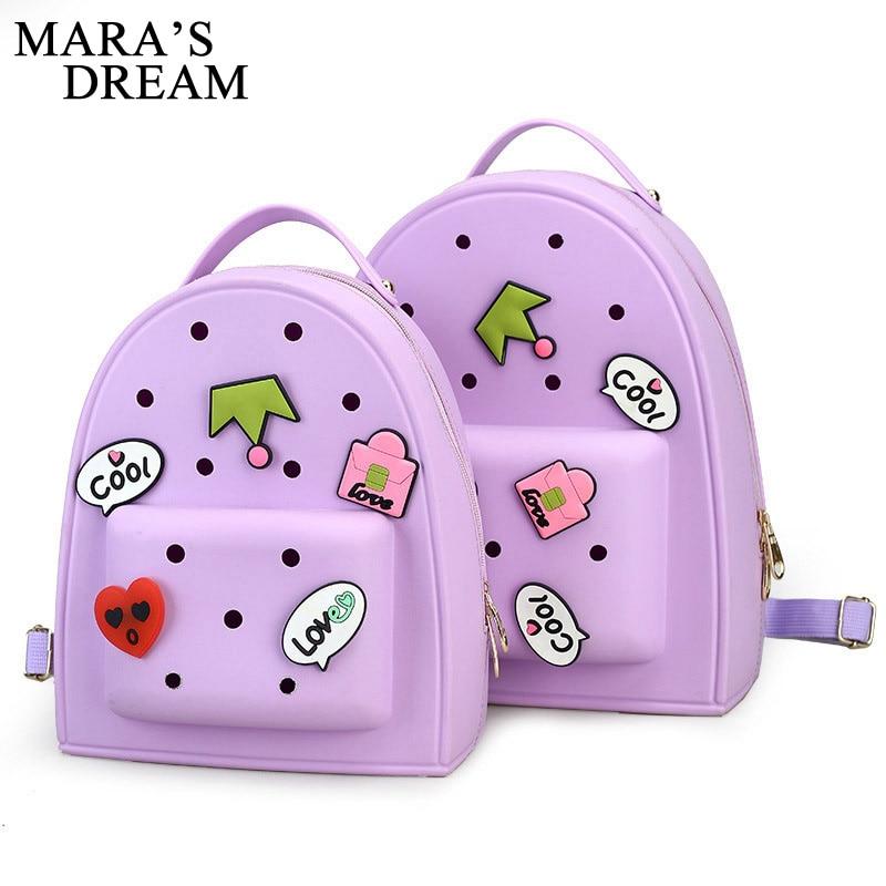 где купить  Mara's Dream 2017 Summer Candy Color Transparent Backpacks Harajuku School Backpack Shoulder Bags For Teenager Girls Beach Bag  по лучшей цене