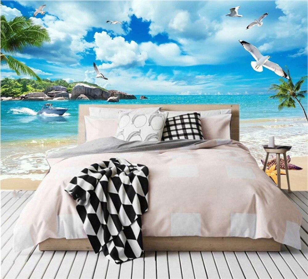 Купить с кэшбэком Custom Photo Wallpaper 3D Seagull Romantic Beach Landscape Wallpaper TV Background Wall Wallpaper Mural
