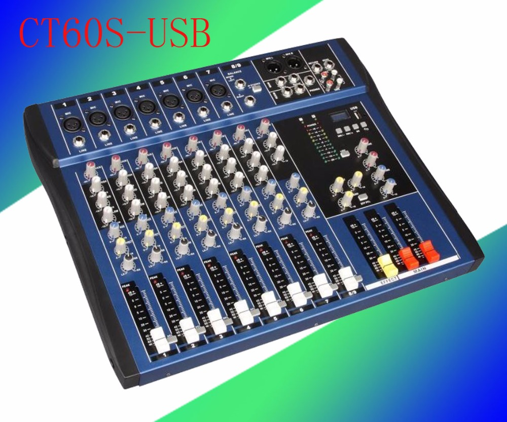 2017 audio mixer/ 6 channel Powered Mixing Console DJ Mixer CT60S-USB Dj player MICROPHONE