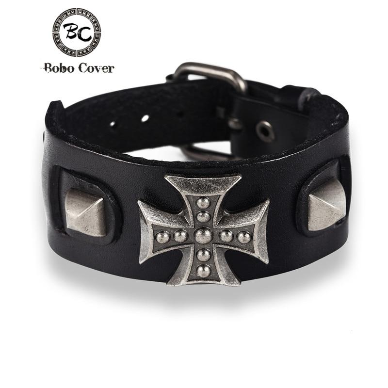 Bobo capa atacado cruz estilo punk pulseira do vintage para homens de couro genuíno envoltório charme pulseira das mulheres dos homens pulseiras presentes