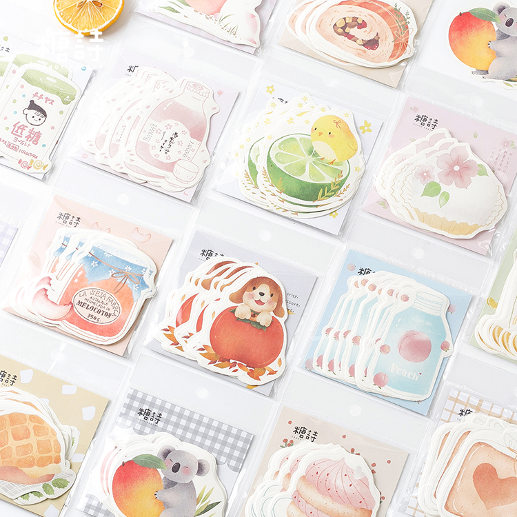 30sheet/lot Kawaii Fruit Milk Cake Journal Paper Memo Pad Planner Sticky Notes Memo Stationery Papelaria Escolar School Supplies