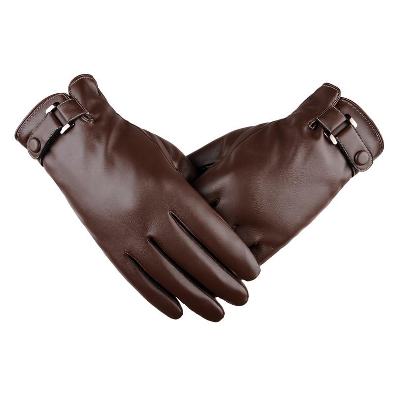 Весна/зима 2018, короткие тонкие/толстые черные/коричневые перчатки из искусственной кожи для сенсорного экрана, мужские варежки для спортза...