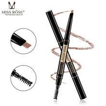MISS ROSE 6 Color Double Ended Eyebrow Pencil Waterproof Long Lasting No Blooming Rotatable Triangle Eye Brow Tatoo Pen