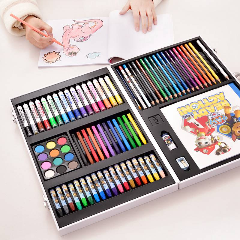 Deli 82pcs/Set Paw Patrol Paint Drawing Art Kit Painting Supplies Wooden Box Set For Kids Gift Art Sets School Office Supplies
