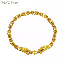 MGFam (21cm*5mm) Dragon Bracelet Jewelry Men China Ancient Mascot Original Designs Pure Gold Color Allergy Free