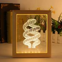 Photo Frame Abstract LED Table Lamps For Bedroom Living Room Illusion 3D LED Night Light Art Decor Christmas Gifts 110-220V