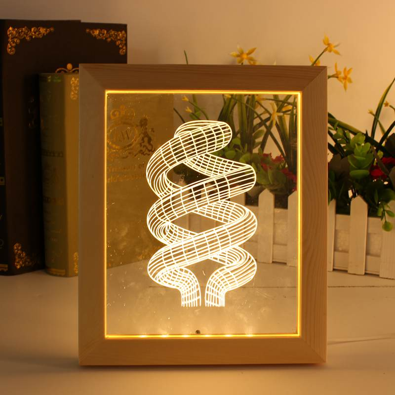 Photo Frame Abstract LED Table Lamps For Bedroom Living Room Illusion 3D LED Night Light Art