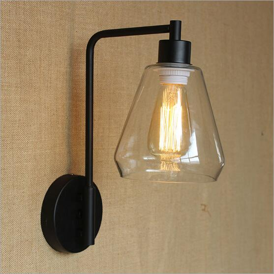 IWHD Loft Style Vintage Industrial LED Wall Lamp American Glass Lampshade Wall Light Sconce Home Lighting Arandela Lampara Pared america rustic vintage pipe wall lamp in loft industrial style stair light edison wall sconce arandela lampara aplik