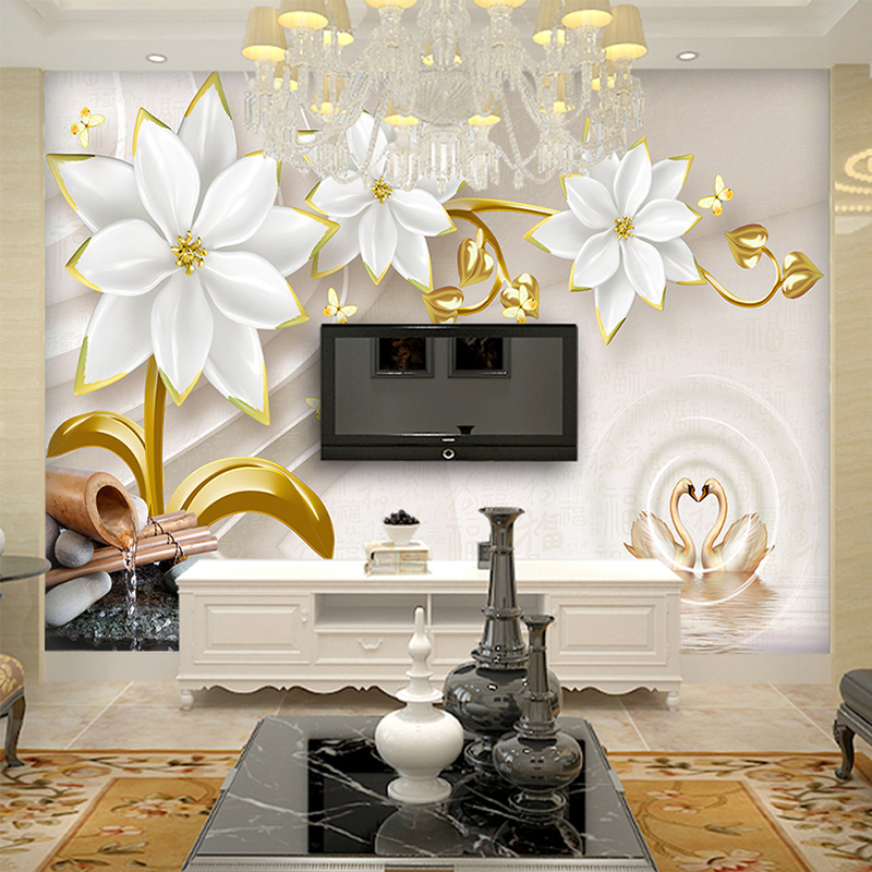 Custom Any Size Photo Background Wall Murals Soft Large Flower Wall  Covering BedRoom Wall Murals Modern WallPaper Home Decor In Wallpapers From  Home ... Part 65
