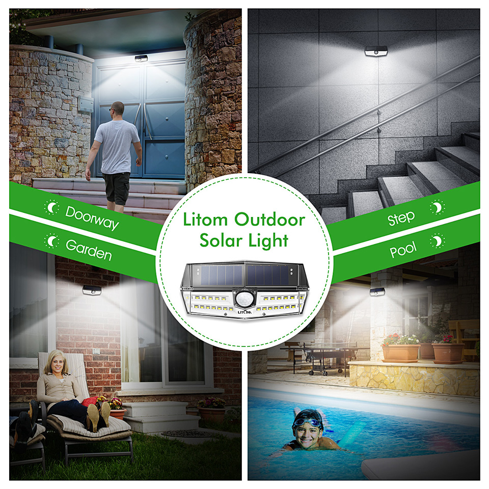 Upgrated Litom IP67 Waterproof Solar Lights 30 LED Super Bright Solar Panel Wall Lamps (6)