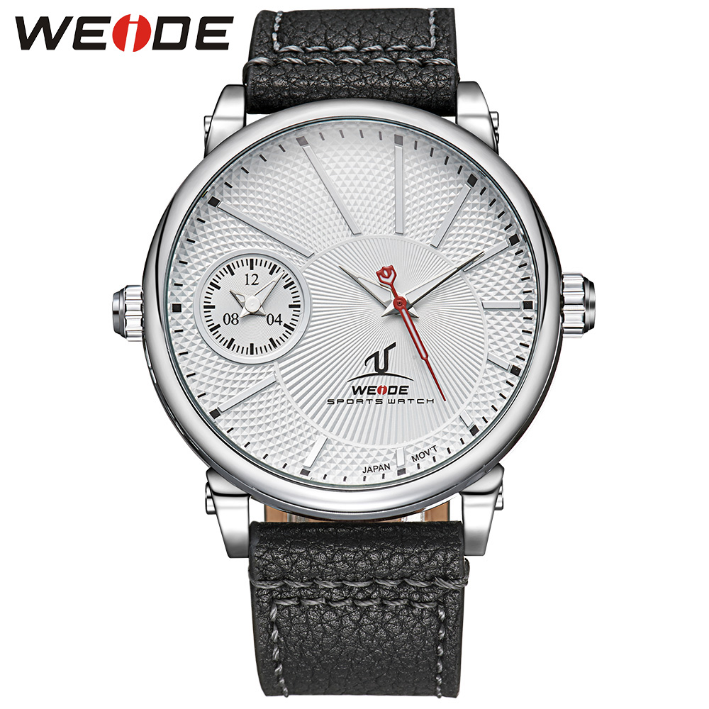 New Brand WEIDE Fashion Casual Business Watch Men Genuine Leather Strap Water Resistant Japan Quartz Wristwatch Men Sale Items brand weide fashion casual men watch black silicone strap 3atm waterproof dual display wristwatch relogio masculino sale items