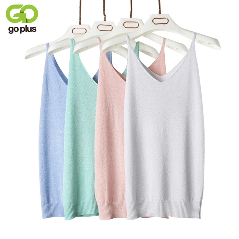 GOPLUS Sexy Summer Knitted Tank Top Women Blouse Fashion Silver Thread Deep V Neck Top Female shirt Sleeveless Vest Casual Camis
