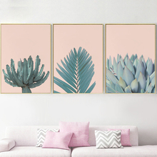 3 Pieces Fresh Succulents Plant Cactus Palm Leaf Wall Art Canvas Painting Nordic Posters And Prints Pictures For Living Roo