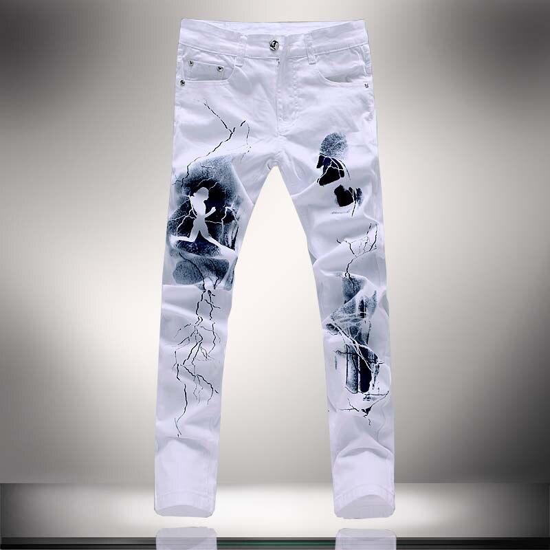 2017 Blanco 3d Impreso Hombres Jeans Homme Hombre Vaqueros De Impresion Unica Algodon De Gran Tamano 40 38 Skinny Jeans Para Hombres Pantalones De Mezclilla Jean Boots Jean Womenjean Clothes Aliexpress