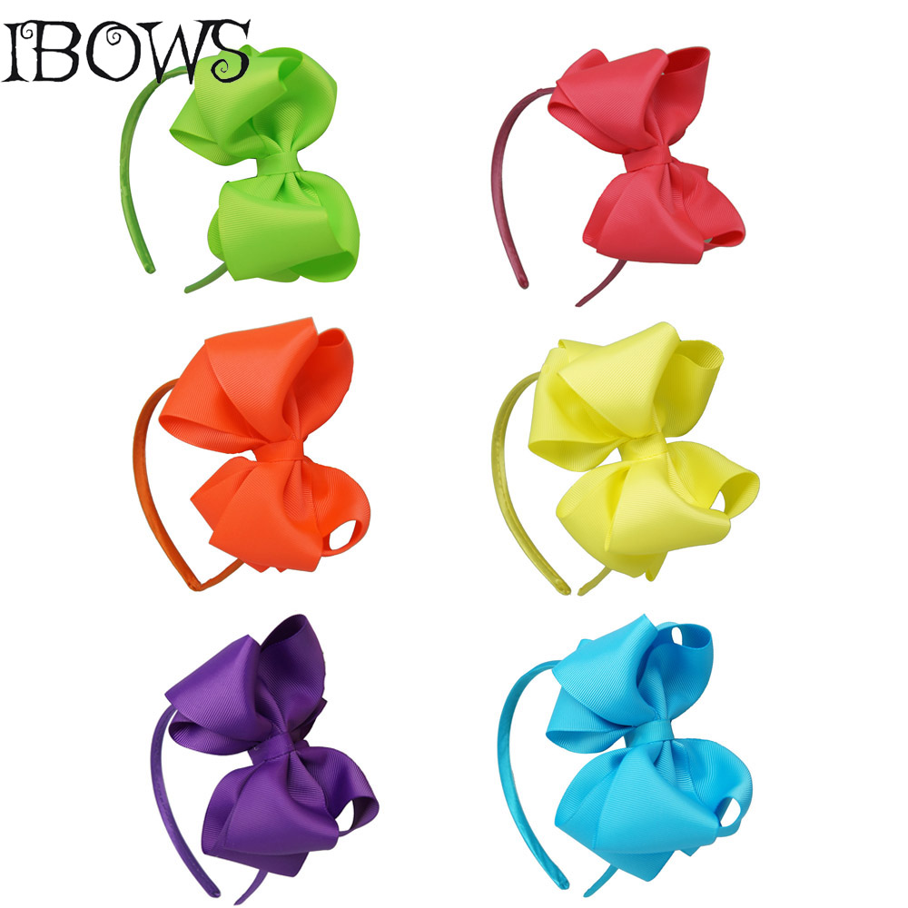 Ha hair bow ribbon wholesale - Fashion Girls Ribbon Large Hair Bow Hairband High Quality Boutique Solid Hair Band For Baby