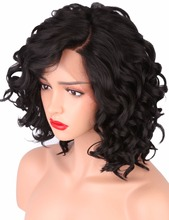 COLODO Short Bob Wigs for Black Women Body Wave Synthetic Lace Front Wig L Shapped with Natural Hairline for Party/Cosplay Wig