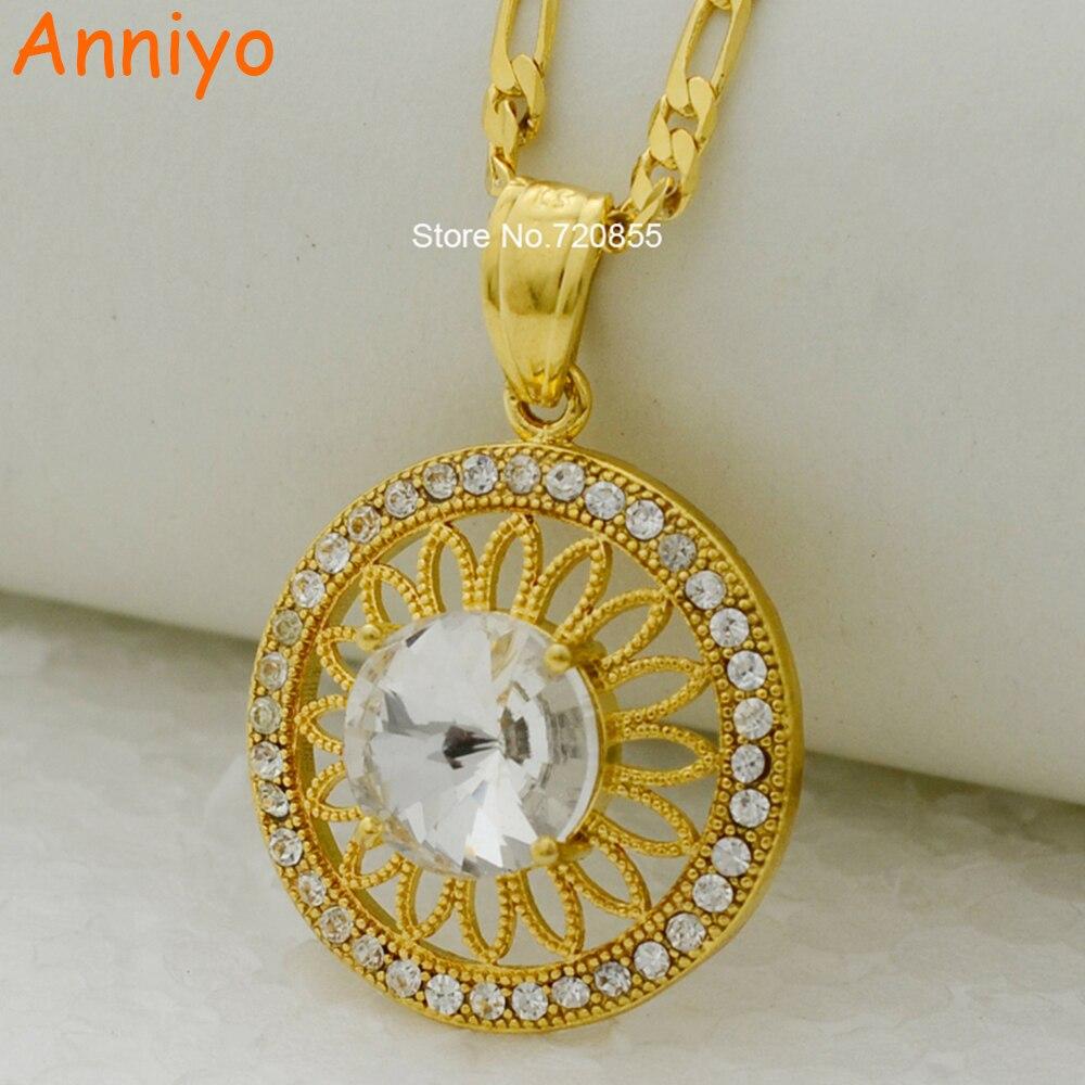 49b5aa9d7 ᐂAnniyo collier de mode et pendentif rond or couleur bijoux strass ...