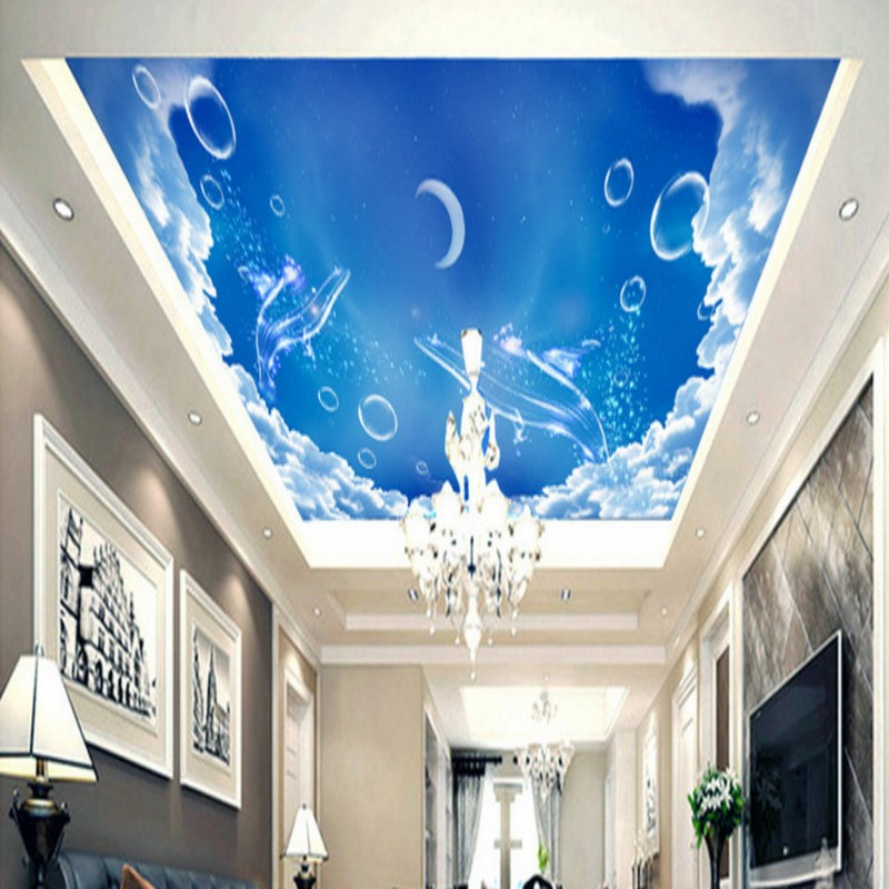 Custom photo wallpaper Blue sky white clouds blue whale travel sky ceiling mural living room lobby mall zenith wallpaper custom 3d stereo ceiling mural wallpaper beautiful starry sky landscape fresco hotel living room ceiling wallpaper home decor 3d