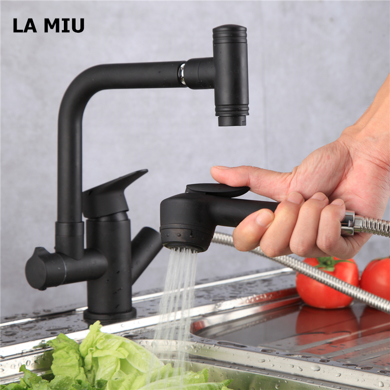 LA MIU Free Shipping Matte Black Pull Out Kitchen Faucet Single Handle Basin Cold and Hot Kitchen Tap 360 Rotation Grifo MLS1082LA MIU Free Shipping Matte Black Pull Out Kitchen Faucet Single Handle Basin Cold and Hot Kitchen Tap 360 Rotation Grifo MLS1082