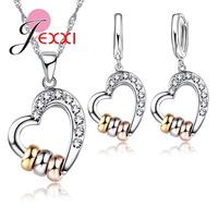 JEXXI 2018 Sweet Heart Wedding   Jewelry     Sets   For Women Full Cubic Zircon 925 Sterling Silver Necklace Earrings Bijouterie   Set