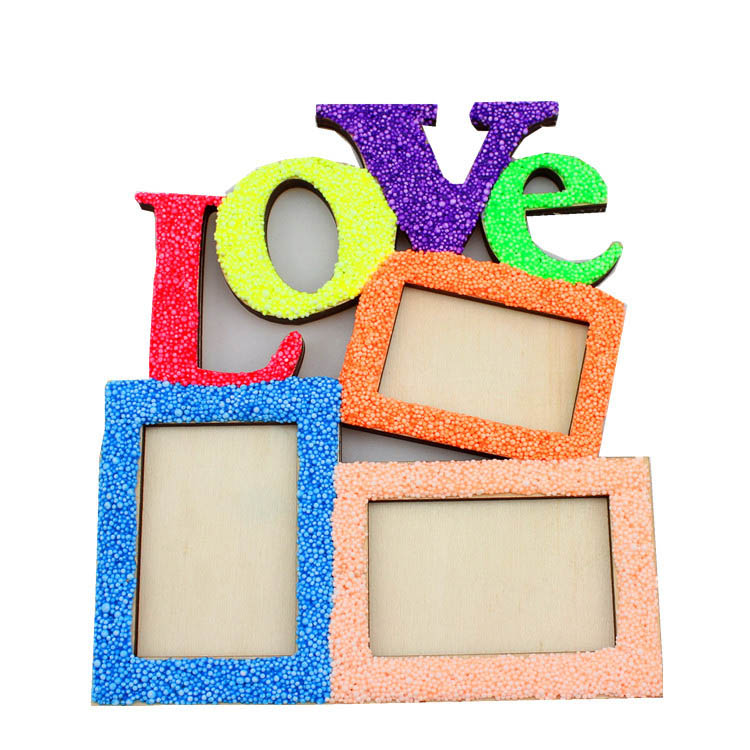 LOVE DIY Wooden Photo Frame Three Square Shape Frames ...