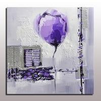 수제 현대 추상 유화 보라색 꽃 벽 프레임이없는 추상 꽃 오일 캔버스 그림
