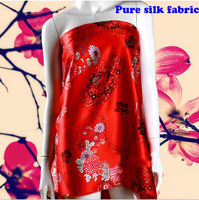 136 100cm1pc Top Nice Pure Real 100 Silk Fabric Red Brocade For Diy Sewing Fashion Wedding