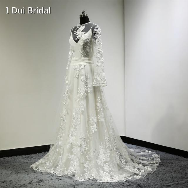 Boho Chic Wedding Dress Vintage Bohemian Long Sleeve Lace Appliques ...