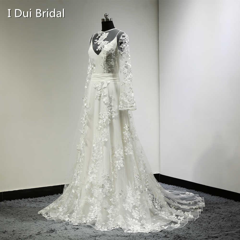 e9e4f44ee3 Boho Chic Wedding Dress Vintage Bohemian Long Sleeve Lace Appliques Vestido  De Novia 100% Real
