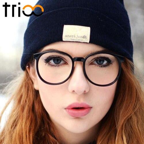 TRIOO Rodada vidros do Olho Óptico Óculos de Armação Mulheres Ultraleves  Óculos de Alta Moda Retro 2bb3d386c2