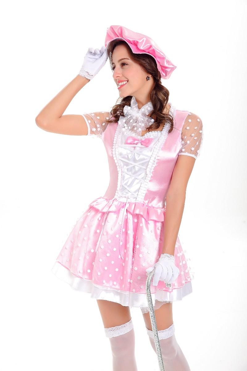 free shipping halloween pink satin polka dot princess maid cosplay