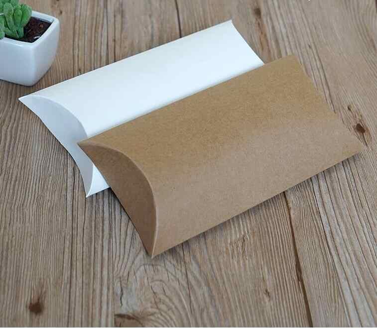 10 Pcs Kraft Kertas Bantal Favor Kotak Putih Hadiah Kotak Pesta Pernikahan Nikmat Permen Kotak Rumah Pesta Ulang Tahun Supply