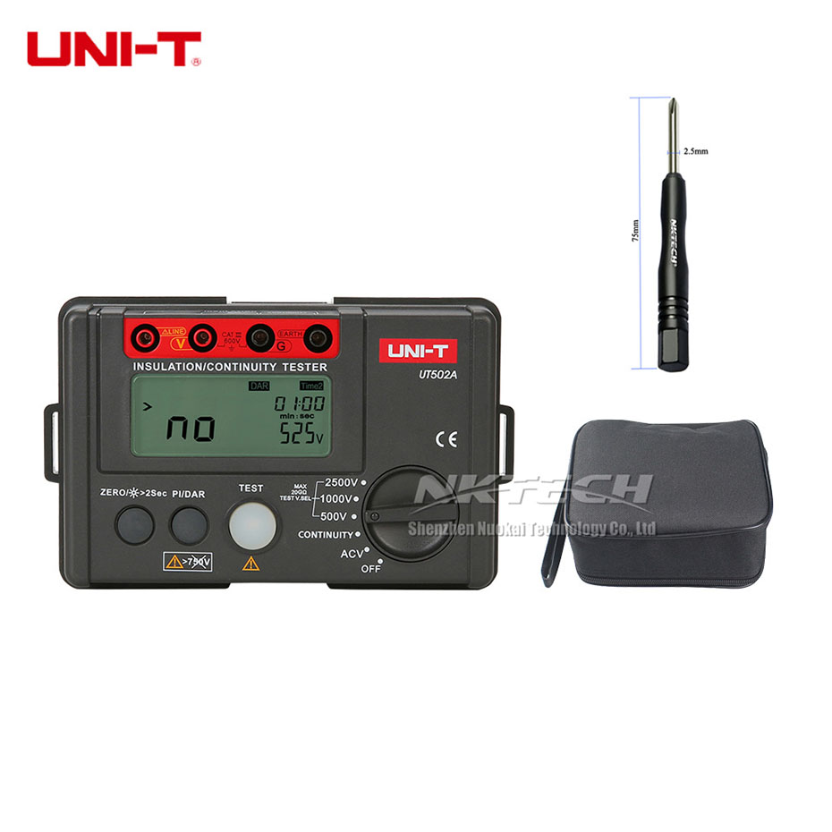 UNI T UT502A 2500V Megger Insulation Earth Ground Resistance Tester Megohmmeter Voltmeter Diagnostic Tools Continuity DAR