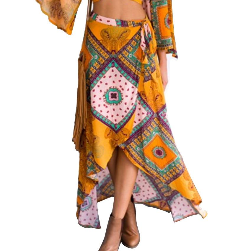 2019 women Bohemian printed irregular skirts Summer Skirt Vacation Holiday Style Women Long