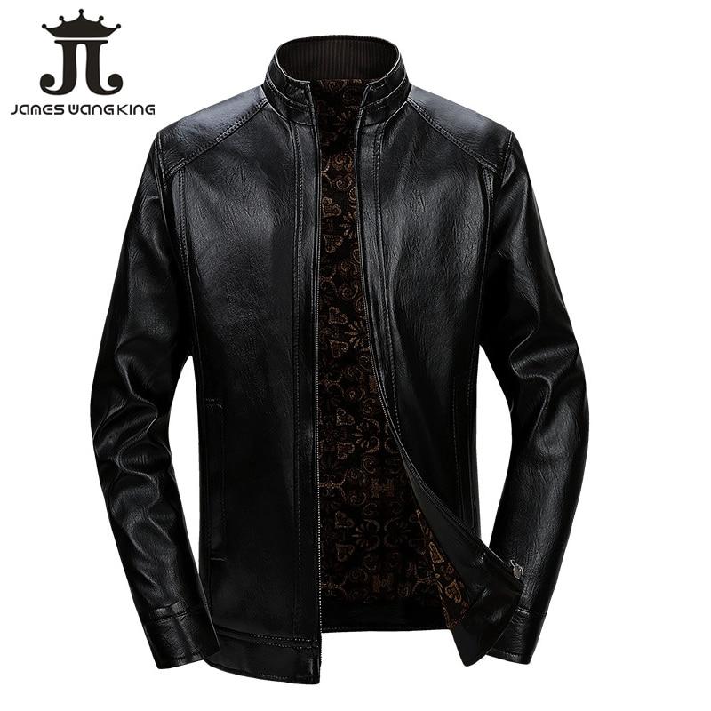 New winter PU leather jacket men Business stand collar fleece leather jackets black zipper warm coats jaqueta masculina 928