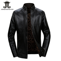 New winter PU leather jacket men Business stand collar fleece leather jackets black zipper warm coats jaqueta masculina 928