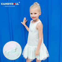 summer fashion new solid poncho dress net yarn dress green girl dress children's clothing