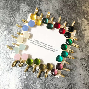 Image 5 - Fashion Women Multicolor Faceted Crystal Candy Square Earrings Silver Color Rose Gold Color Zircon Stones Water Drop Earrings