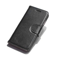 Onleny Cow Leather Phone Case Lichee Pattern Wear Resistant Wallet Phone Cover Card Slot Phone Shell
