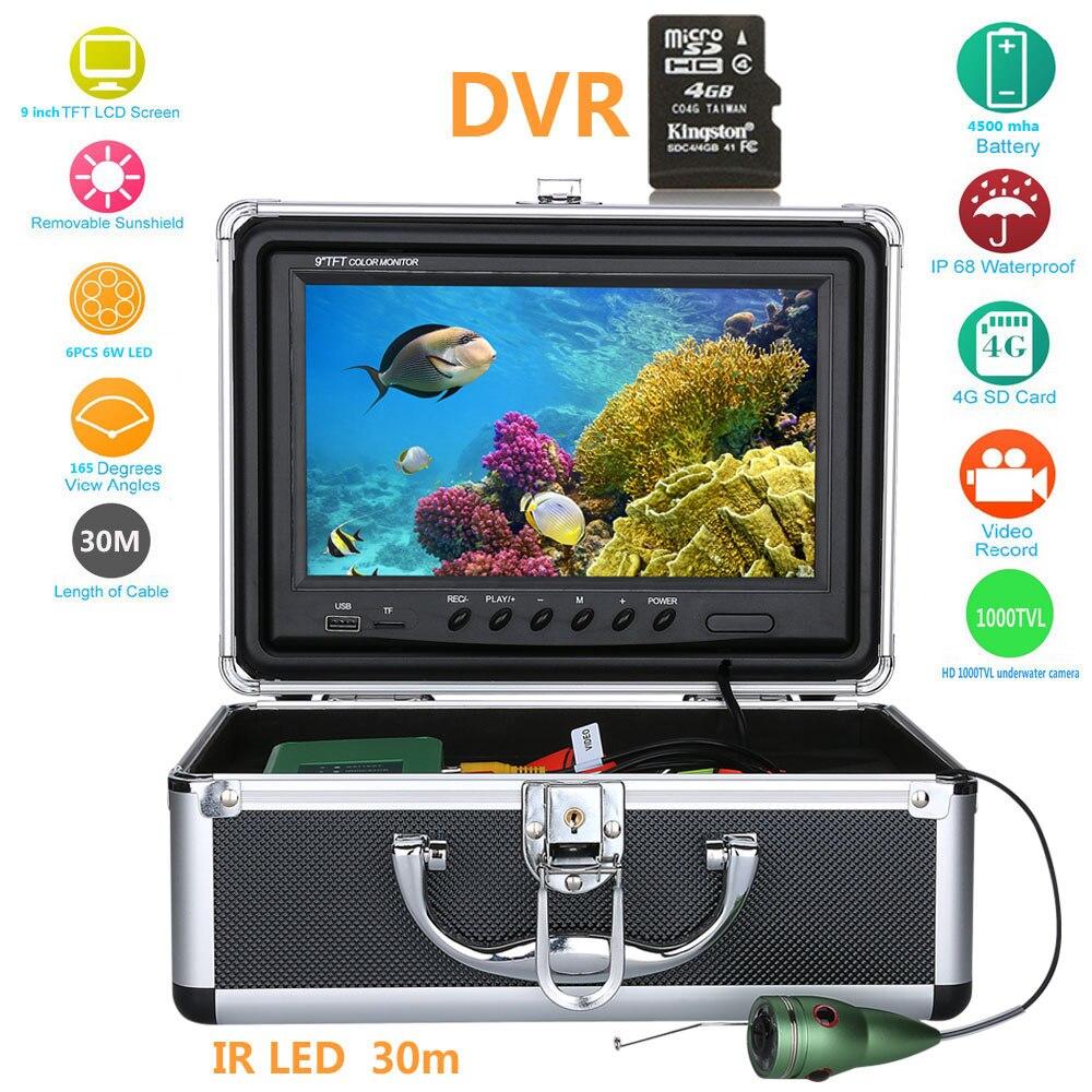 15 M 30 M 50 m 9''inch pesca submarina cámara de vídeo 1000TVL buscador de peces HD DVR grabador pesca impermeable con 6 unids 1 W ir led