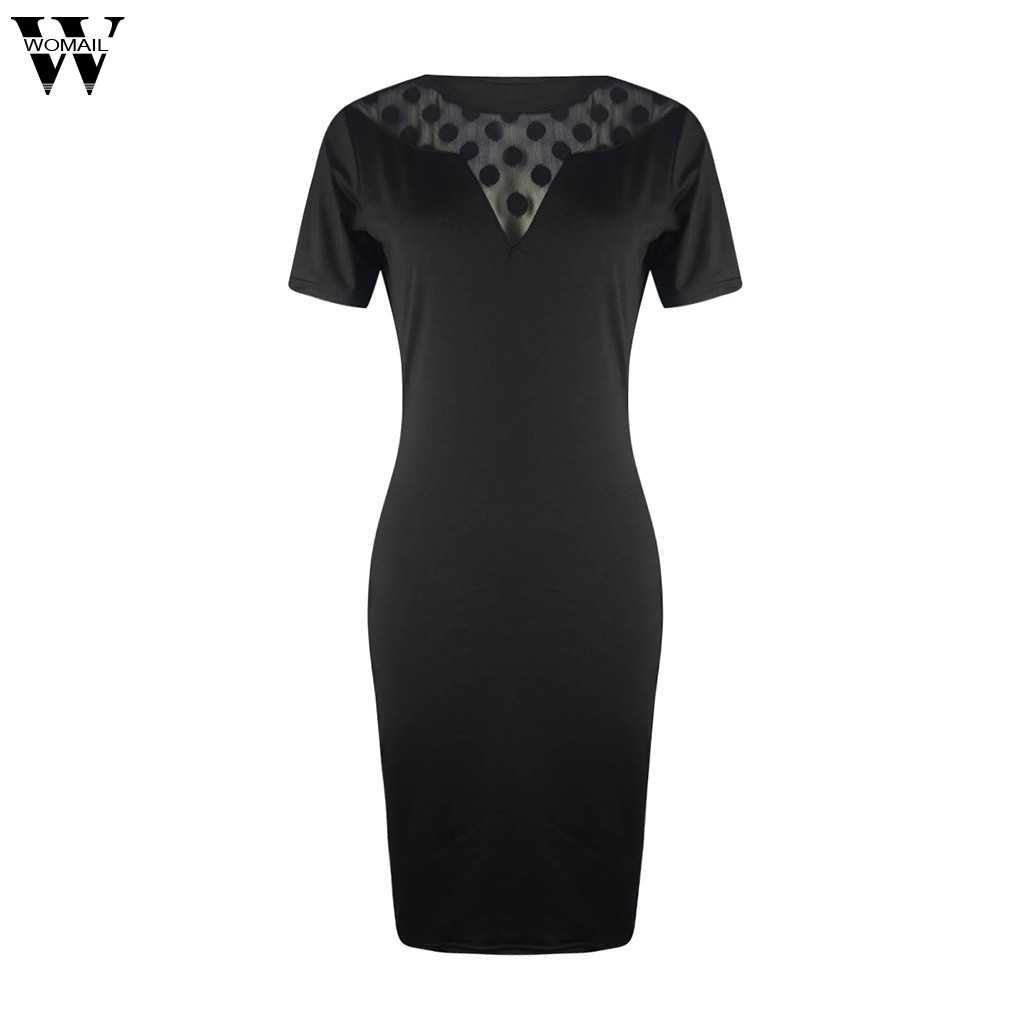 Womail Vrouwen Sexy Zwarte Stip V-hals Bodycon Jurk Slanke Schede Perspectief Party Dress Lace Corset Elegant Dropship D18