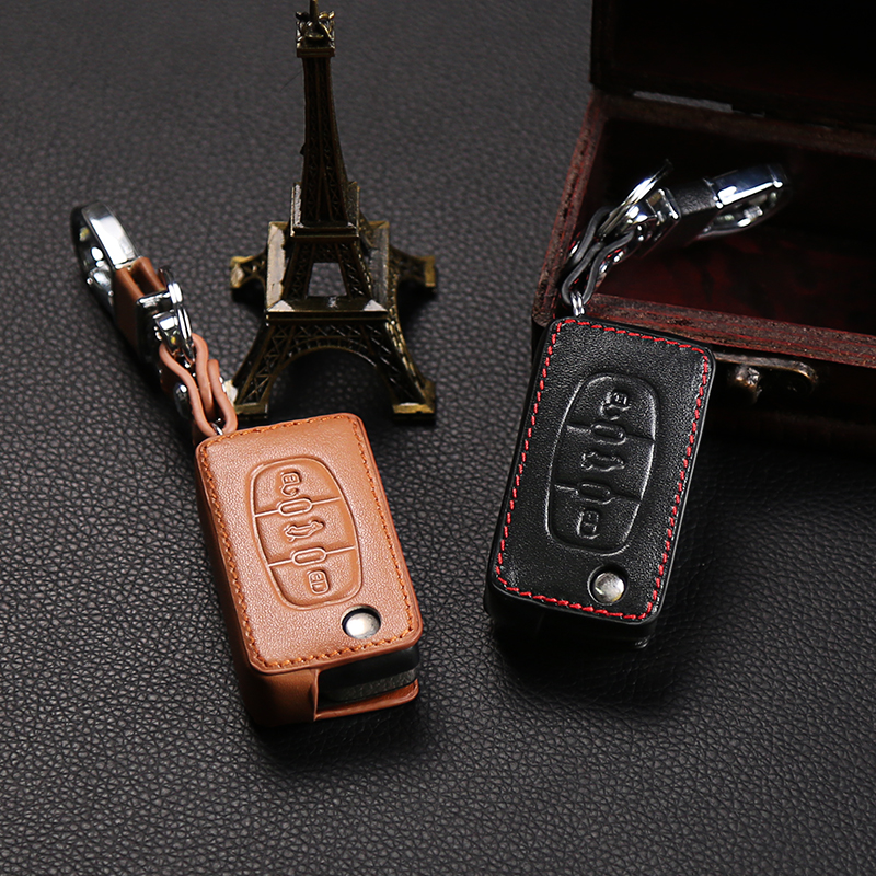 Genuine Leather Car <font><b>Key</b></font> Case Cover For <font><b>Peugeot</b></font> 107 206 207 <font><b>208</b></font> 306 307 308 407 408 508 RCZ,For Citroen C2 C3 C4 C5 Good <font><b>key</b></font> bag image