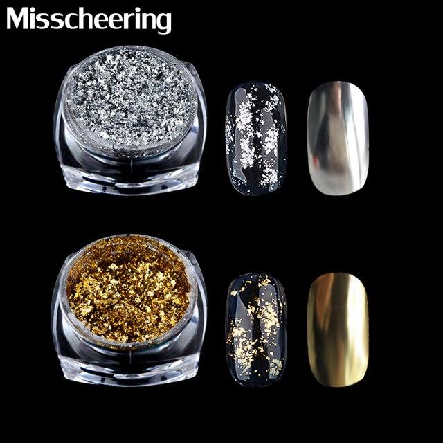 1 caja oro plata brillo aluminio copos efecto espejo mágico polvos lentejuelas Gel esmalte cromo pigmento decoraciones