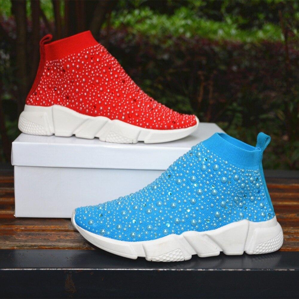 Myfitgo baskets cristal femmes chaussettes chaussures de luxe perles dames décontracté respirant chaussures femmes vulcaniser baskets strass Femme - 4
